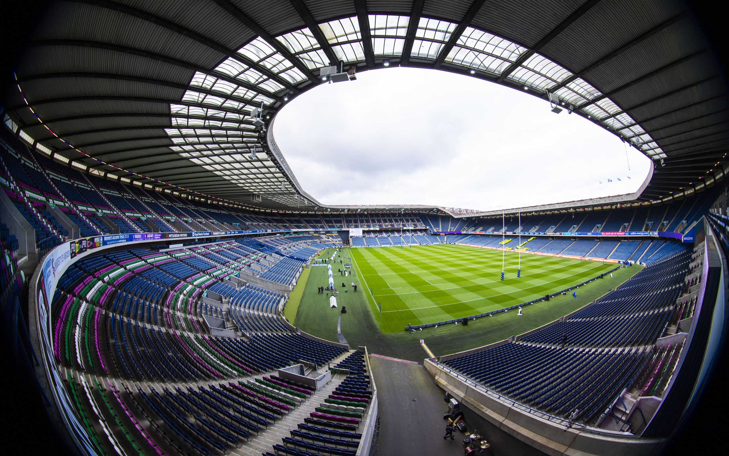 fisheye of warm up match between Scotland and Georgia