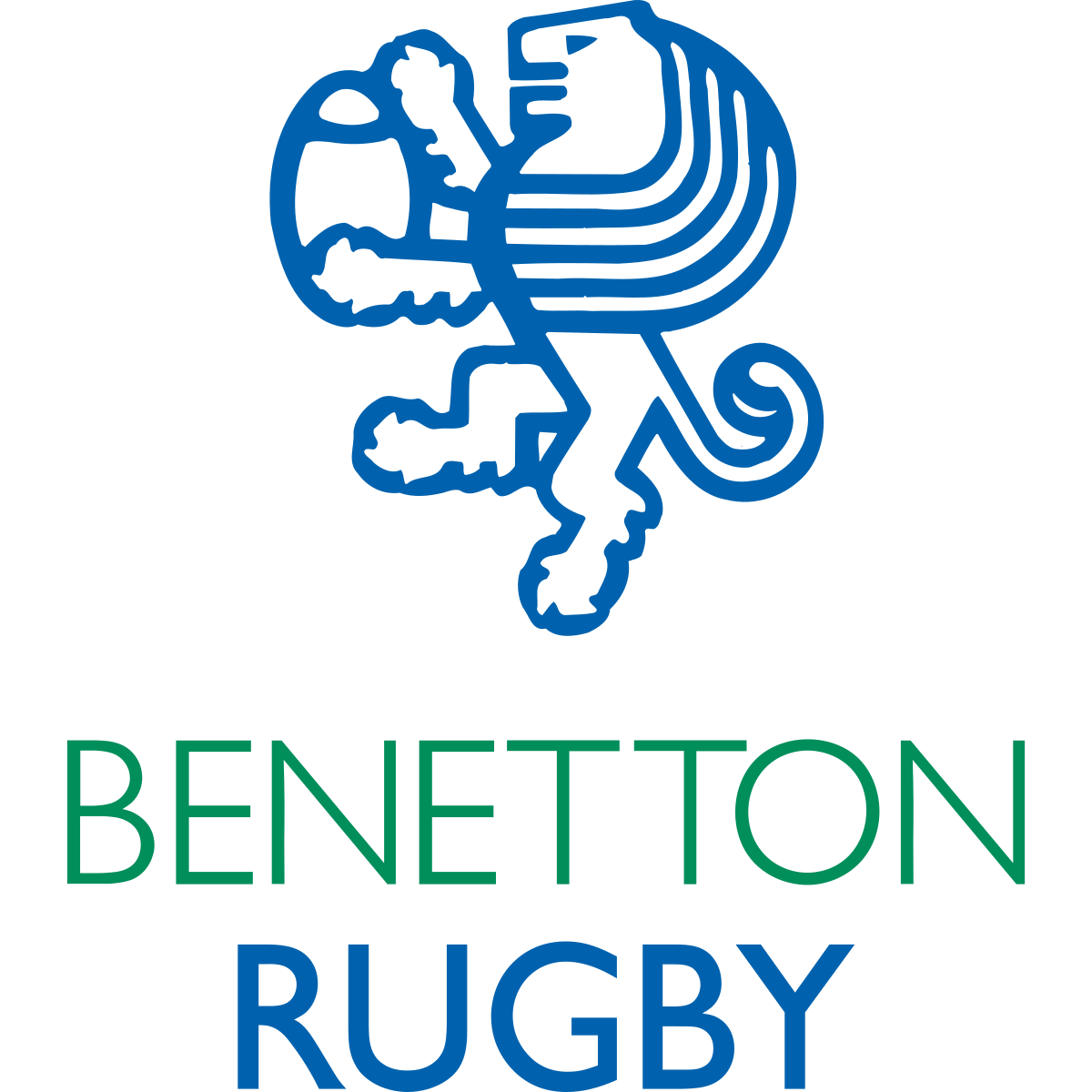 Benetton Rugby logo in blue white and green with clear background