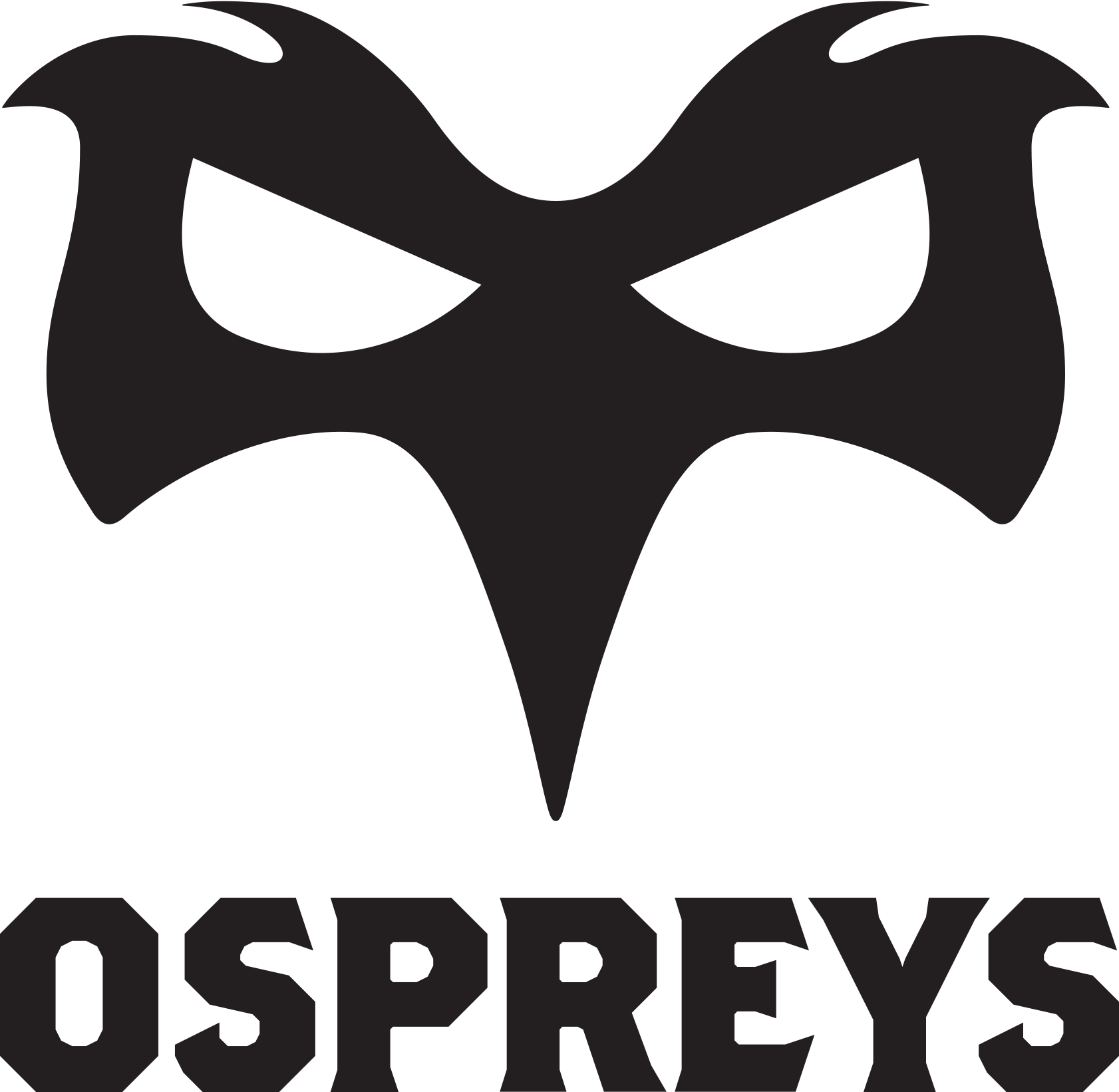 ospreys logo in black with clear background