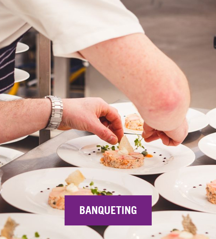 Banqueting Image and Purple Button