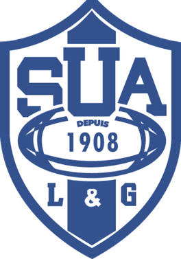 SUA rugby club logo blue and white with clear background